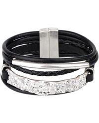 Saachi - Unpaved Bar Leather Bracelet - Lyst