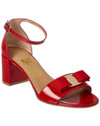 Ferragamo - Gavina Vara Bow Ankle Strap Patent Sandal - Lyst