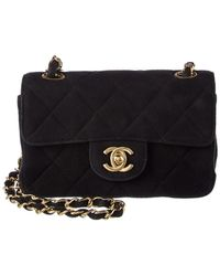 5dd28d769fd5d1 Lyst - Chanel Vintage Quilted Lambskin Camera Bag Navy in Metallic