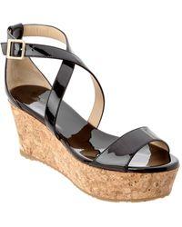 Jimmy Choo - Portia 70 Patent Cork Wedge Sandal - Lyst