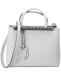 269c0e171cd5 Fendi Petite 2jours Camellia Leather Tote Bag W rainbow Studs in ...
