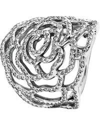 PANDORA - Silver Cz Rose Ring - Lyst