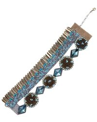 Deepa Gurnani - Brass Feather & Beaded Statement Bracelet - Lyst