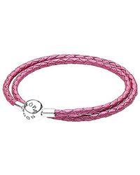 PANDORA - Silver & Honeysuckle Pink Leather Wrap Bracelet - Lyst