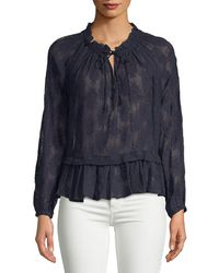Rebecca Taylor - Selina Embroidered Long-sleeve Silk Blouse - Lyst