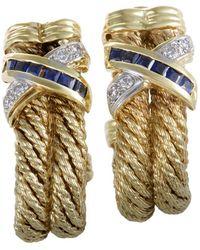 Heritage - Armany 18k Two-tone 0.99 Ct. Tw. Diamond & Sapphire Earrings - Lyst