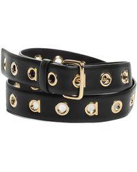 Ferragamo - Black Gancio Grommet Leather Belt, Size 85 - Lyst