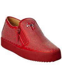 Giuseppe Zanotti - Embellished Leather Slip-on Trainer - Lyst