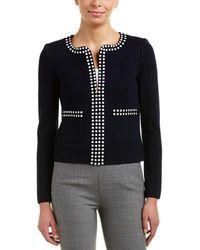 St. John - Studded Full Zip Jacket - Lyst