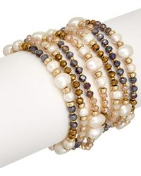 Carolee - Plated 9mm Pearl Stretch Bracelet - Lyst