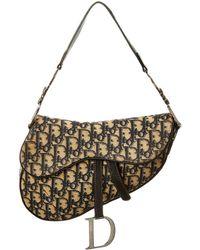 Dior Navy Trotter Canvas Saddle Bag