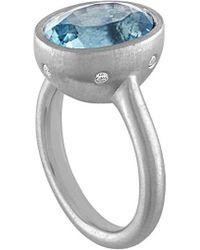 Tate - Platinum 5.35 Ct. Tw. Diamond & Aquamarine Ring - Lyst