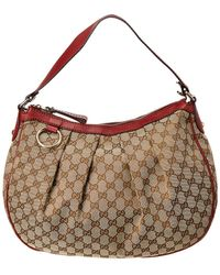 Gucci - Brown GG Canvas & Burgundy Leather Sukey Hobo - Lyst