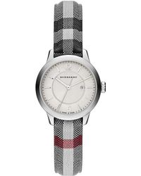 Burberry - Diamond, Stainless Steel Leather Strap Watch - Lyst
