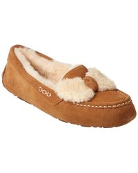 UGG - Ansley Fur Bow Water-resistant Suede Slipper - Lyst