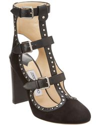 89afcf8be10a Jimmy Choo - Hensley 100 Stud Embellished Suede & Vachetta Leather Bootie -  Lyst