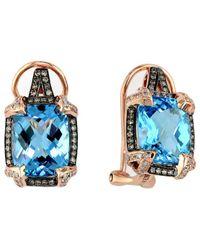 Effy - Fine Jewelry 14k Rose Gold 8.24 Ct. Tw. Diamond & Topaz Earrings - Lyst
