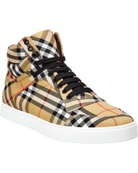 Burberry - Vintage Check Cotton High Top Trainers - Lyst