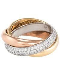 Cartier - Cartier Trinity 18k Tri-color 0.99 Ct. Tw. Diamond Ring - Lyst