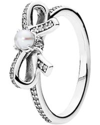 PANDORA - Delicate Sentiments Silver Pearl & Cz Ring - Lyst