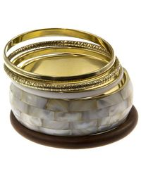 Gottex - 18k Plated & Wood Mother-of-pearl Set Of Bangles - Lyst