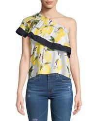 Lucca Couture - Jacqueline Lemon-print One-shoulder Top - Lyst
