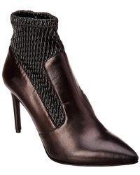 Karen Millen - Stretch Leather Bootie - Lyst