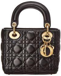 Dior - Black Lambskin Leather Small Lady - Lyst