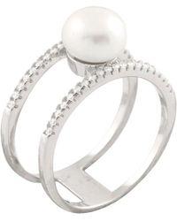 Splendid - Silver 8-8.5mm Freshwater Pearl & Cz Ring - Lyst