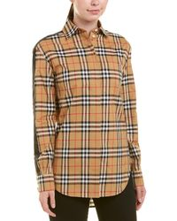 Burberry Satin Stripe Check Shirt - Yellow