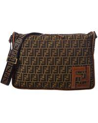 7c32d53971c Lyst - Fendi Zucca Pattern Handbag Flower Canvas Leather 6g190300m ...