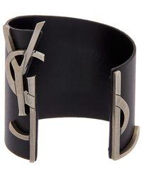 Saint Laurent - Logo Embellished Leather Bracelet - Lyst
