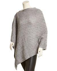 Sofia Cashmere - Sofiacashmere Wool & Cashmere-blend Cable Button Poncho - Lyst