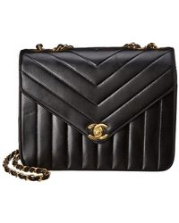 8c80c7198134 Chanel - Black Lambskin Chevron Quilted Leather Small Envelope Single Flap  Bag - Lyst