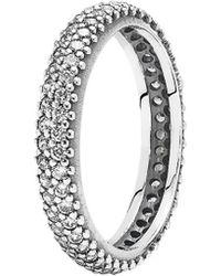 9067ee848 PANDORA Eternal Clouds Stackable Ring in Metallic - Lyst