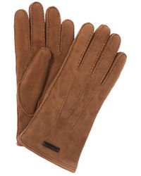 Burberry - Shearling Lined Suede Gloves - Lyst