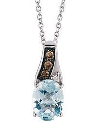 Le Vian - ® Chocolatier® 14k 1.06 Ct. Tw. Brown & White Diamond & Aquamarine Necklace - Lyst