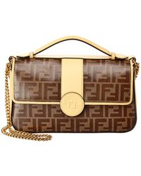 Fendi - Double F Zucca Canvas & Leather Shoulder Bag - Lyst