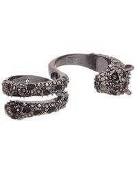 Betsey Johnson - Roses Cz & Enamel Double Ring - Lyst