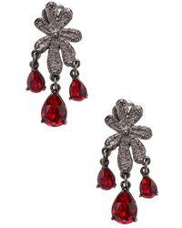 Oscar de la Renta - Lace Crystal Clip-on Earrings - Lyst