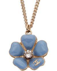 Chanel - Blue & Gold-tone Enamel Camellia Necklace - Lyst
