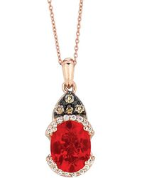 Le Vian - ® 14k Rose Gold 1.08 Ct. Tw. Chocolate & White Diamond & Fire Opal Necklace - Lyst