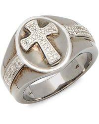 Effy - Silver 0.17 Ct. Tw. Diamond Cross Ring - Lyst