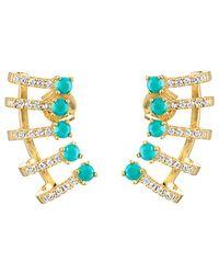 Melinda Maria - 18k Plated Turquoise & Cz Keyla Ear Cuffs - Lyst