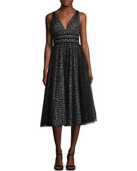Carmen Marc Valvo - Infusion Tulle Satin Trim A Line Dress - Lyst