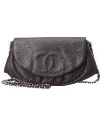 Chanel - Black Caviar Leather Half Moon Wallet On Chain - Lyst