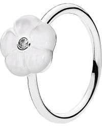 PANDORA - Luminous Floral Silver Cz & Enamel Ring - Lyst