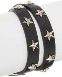 RED Valentino - Star Studded Leather Double Wrap Bracelet - Lyst