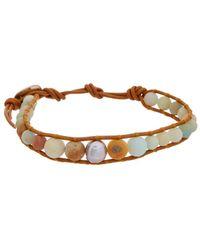 Chan Luu - Silver Amazonite & 8-9mm Pearl Leather Bracelet - Lyst
