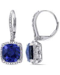 Rina Limor - Fine Jewelry Silver 6.69 Ct. Tw. Diamond & Created Blue Sapphire Studs - Lyst